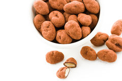 Chocolate covered almonds. Rolled in cocoa powder stock photo