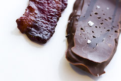 Chocolate covered bacon royalty free stock images