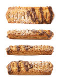 Chocolate covered banana strudel bun Royalty Free Stock Photos