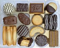 Chocolate covered biscuits Royalty Free Stock Images