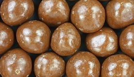 Chocolate Covered Carmel Balls up Close Royalty Free Stock Photography