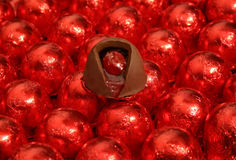 Chocolate covered cherries Stock Images