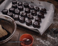 Chocolate covered christmas cookies. On table stock image