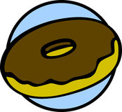 Chocolate covered donut vector illustration Stock Photo