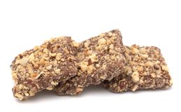 Chocolate Covered English Toffee Coated in Nuts on a White Backg. Luxery Chocolate Covered English Toffee Coated in Nuts on a White Background Stock Photography