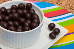 Chocolate covered espresso coffee beans stock photos