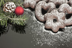 Chocolate covered gingerbread on black. With pine and bulb Stock Image