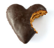 Chocolate covered gingerbread heart Stock Photography