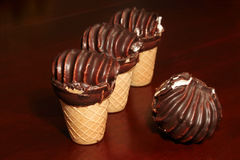 Chocolate covered ice-cream Royalty Free Stock Images