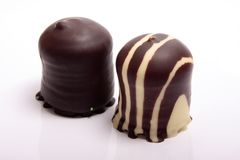 Chocolate covered meringue confection Stock Image