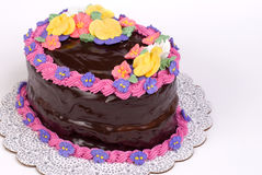 Chocolate Covered Oval Cake on White. A chocolate-covered oval cake, decorated with royal icing flowers Stock Photos
