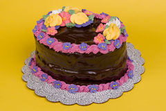 Chocolate Covered Oval Cake on Yellow. A chocolate-covered oval cake, decorated with royal icing flowers Royalty Free Stock Photos