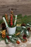 Chocolate Covered Pretzels. Christmas Decoration with Holiday Chocolate Covered Pretzels. Selective focus stock photo