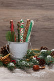 Chocolate Covered Pretzels. Christmas Decoration with Holiday Chocolate Covered Pretzels. Selective focus royalty free stock photography