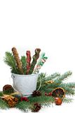Chocolate Covered Pretzels. Christmas Decoration with Holiday Chocolate Covered Pretzels. Selective focus stock photography