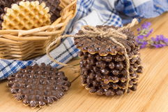 Chocolate covered round homemade cookies. Rustic arrangement royalty free stock photo