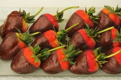 Chocolate covered strawberries Stock Images