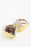 Chocolate covered strawberries. White and dark chocolate covered strawberries Royalty Free Stock Image
