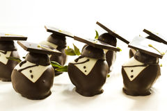 Chocolate covered strawberries. Gourmet chocolate covered strawberries decorated for graduation party Royalty Free Stock Photos