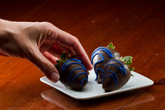 Chocolate covered  strawberries Stock Image