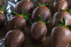 Chocolate covered strawberries. Delicious chocolate covered strawberries made at home using organic ingredients stock photography
