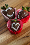 Chocolate covered strawberries. Delicious chocolate covered strawberries made at home using organic ingredients stock photo