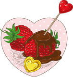 Chocolate Covered Strawberries and Hearts. Chocolate Covered Strawberries with Red and Golden Hearts in the Heart Shape Frame Royalty Free Stock Photos