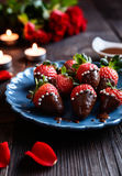 Chocolate covered strawberries with sprinkles for Valentine`s Day Stock Photography
