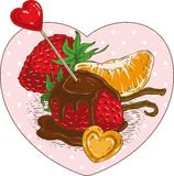 Chocolate Covered Strawberries and Tangerine Slice. Chocolate Covered Strawberries and Orange Tangerine Slice with Red and Orange Hearts in the Heart Shape Frame Stock Image