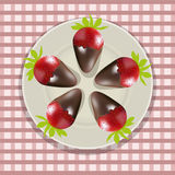 Chocolate covered strawberries. Vector illustration , chocolate covered strawberries on a plate Royalty Free Stock Photos
