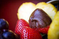 Chocolate-Covered Strawberry. Fruit assortment including pineapple, grapes, and strawberries with one chocolate-covered strawberry Royalty Free Stock Photography