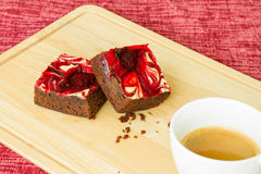 Chocolate covered strawberry brownies Stock Image