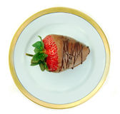 Chocolate Covered Strawberry on Dish stock photo