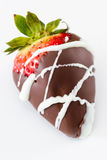 Chocolate covered strawberry. Single chocolate covered strawberry on a white background stock photos