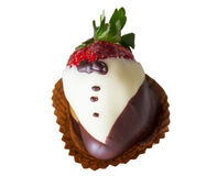 Chocolate covered strawberry. On a white background Royalty Free Stock Photo