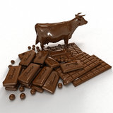 Chocolate cow. 3D rendering of chocolate in different shapes including a cow Royalty Free Stock Photography