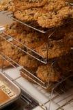 Chocolate cozido fresco Chip Cookie Rack da farinha de aveia das camadas das fileiras imagem de stock royalty free