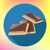 Chocolate cracker cookie flat icon Stock Photography