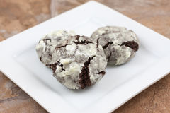 Chocolate Crackle Cookies Stock Photo