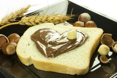 Chocolate cream. Spread on a slice of bread Stock Photography