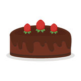 Chocolate cream birthday cake pie isolated vector illustration food dessert sweet crust baked homemade fresh tart Stock Images