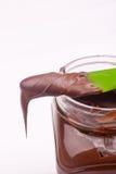 Chocolate cream and bread Stock Photo