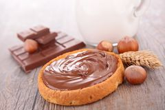 Chocolate cream and bread Stock Photography