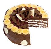 Chocolate cream cake with banana Stock Image