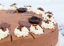 Chocolate cream cake with cake lace in detail Royalty Free Stock Photos