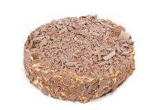 Chocolate cream cake on white Stock Photos