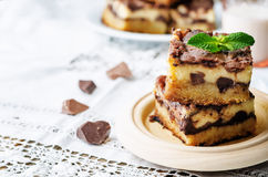 Chocolate cream cheese bars Stock Photo