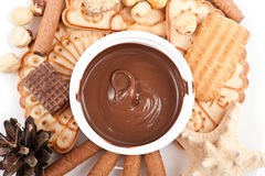 Chocolate cream with cookies Royalty Free Stock Photo