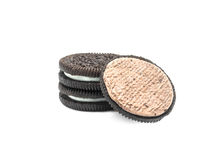 Chocolate cream cookies on white background. royalty free stock images