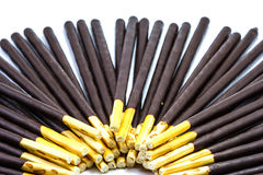 Chocolate Cream Covered Biscuit Sticks Stock Photography